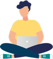 Male sitting with laptop illustration
