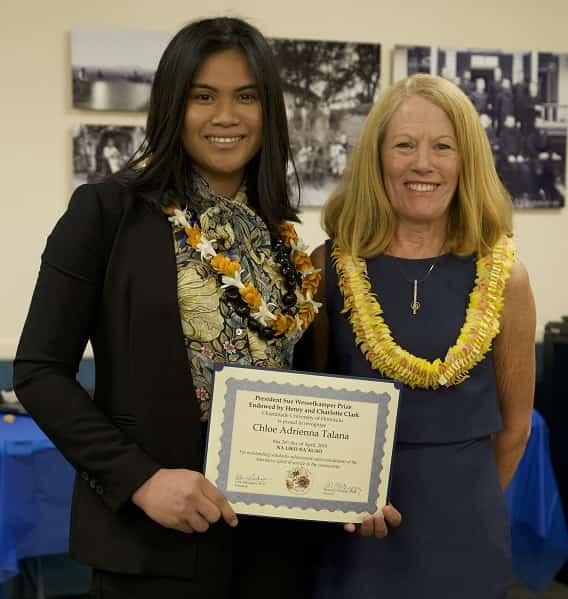 Chloe Talana (President Sue Wesselkamper Prize winner) and Dr. Lynn Babington