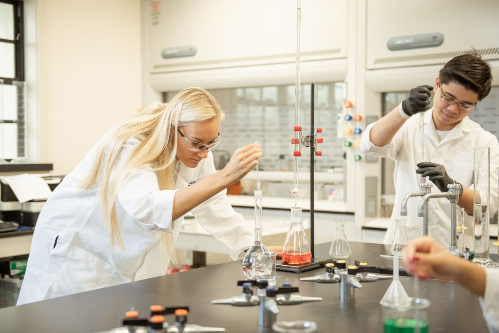Chaminade students in the lab