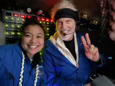 Nicole Yamase '14 and Victor Vescovo during Challenger Deep expidition