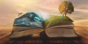 Concept of an open magic book; open pages with water and land and small child. Fantasy, nature or learning concept, with copy space (Concept of an open magic book; open pages with water and land and small child. Fantasy, nature or learning concept