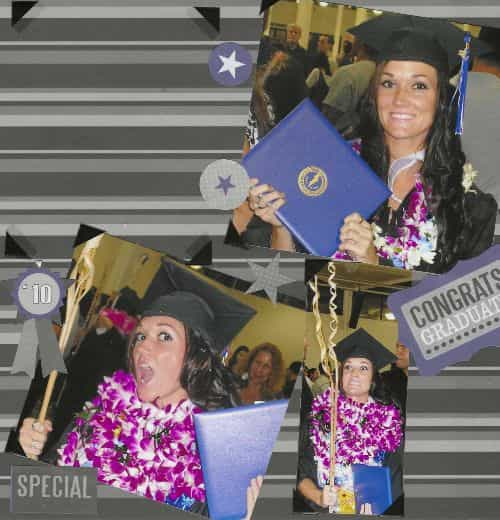 Caylee Orsinger '11 scrapbook page of her graduation from Chaminade