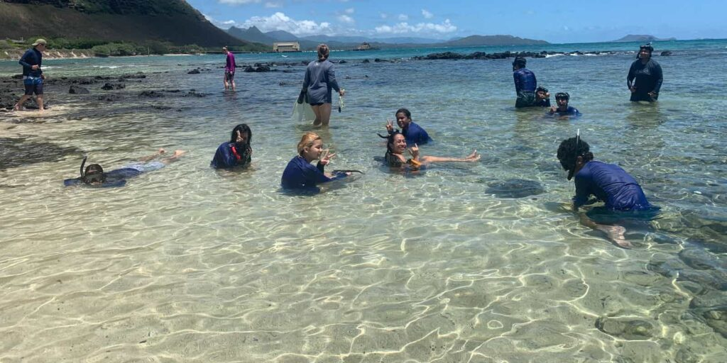 Kaimuki and McKinley students at the beach during their Marine Science summer institute program